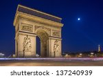 arc de triomphe at night in... | Shutterstock . vector #137240939