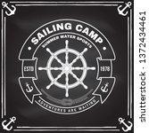 yacht club badge. vector... | Shutterstock .eps vector #1372434461