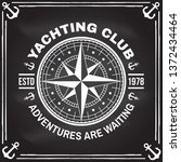 yacht club badge. vector... | Shutterstock .eps vector #1372434464