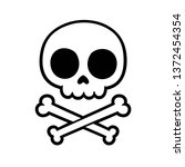 cute stylized cartoon skull and ... | Shutterstock .eps vector #1372454354