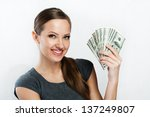 Young Business Woman Holding...