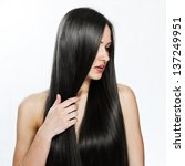 beautiful girl. healthy long... | Shutterstock . vector #137249951
