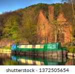 canal barge spring | Shutterstock . vector #1372505654