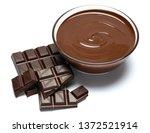 glass bowl of chocolate cream...   Shutterstock . vector #1372521914