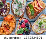 flat lay of small open faced... | Shutterstock . vector #1372534901