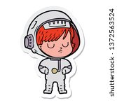 sticker of a cartoon astronaut...   Shutterstock . vector #1372563524