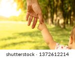 the parent holds the hand of a... | Shutterstock . vector #1372612214