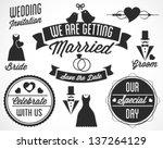 wedding vector badges and... | Shutterstock .eps vector #137264129