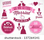 beautiful wedding vector badges ... | Shutterstock .eps vector #137264141