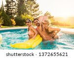 group of friends at a poolside...   Shutterstock . vector #1372655621
