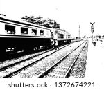 train and railroad made in... | Shutterstock . vector #1372674221