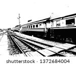 train and railroad made in... | Shutterstock . vector #1372684004