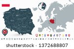 poland map and poland location... | Shutterstock .eps vector #1372688807
