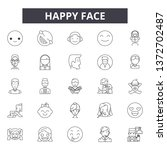 happy face line icons  signs ...   Shutterstock .eps vector #1372702487