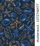 sea theme seamless pattern...   Shutterstock .eps vector #1372748477