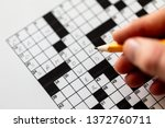 Stock photo black and white crossword puzzle that needs to be solved 1372760711