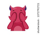 scared pink monster with horns... | Shutterstock .eps vector #1372792721
