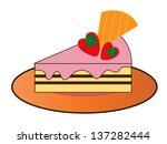 cake with a strawberry on white. | Shutterstock . vector #137282444