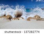 Ocean Water Splash Over Rocks...