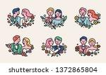 romantic couple character logo... | Shutterstock .eps vector #1372865804
