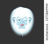 Stock photo yeti winks emoji abominable snowman cheerful avatar bigfoot joyful emotion face 1372869944