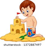 cartoon happy boy making sand... | Shutterstock .eps vector #1372887497