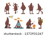 Stock vector bigfoot cartoon character set funny mythical creature in different situations vector illustrations 1372931267