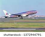 Small photo of Historic 9-11-01 hijacked American Airlines Boeing 767 N334AA World trade towers attack plane, Logan Airport Boston Massachusetts USA, June 1, 2000