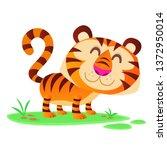 funny cartoon tiger vector...   Shutterstock .eps vector #1372950014