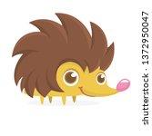cute cartoon hedgehog... | Shutterstock .eps vector #1372950047