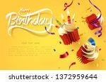 paper art of falling cupcake ... | Shutterstock .eps vector #1372959644
