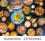 colorfull flat lay table full... | Shutterstock . vector #1373013461