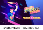 world cricket league poster or... | Shutterstock .eps vector #1373022461