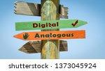 street sign digital versus... | Shutterstock . vector #1373045924