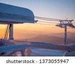 Ski Lift Station At Sunrise