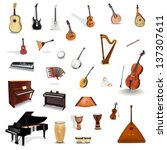 big collection of vector music... | Shutterstock .eps vector #137307611