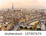 view on eiffel tower  paris ... | Shutterstock . vector #137307674