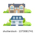 colorful country houses with... | Shutterstock .eps vector #1373081741