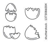 Broken Eggshell Icons Set....