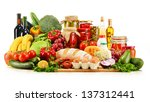 assorted grocery products... | Shutterstock . vector #137312441