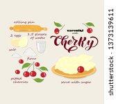 recipe. vareniki with cherry.... | Shutterstock .eps vector #1373139611