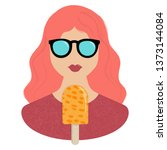 woman and orange icream icon... | Shutterstock .eps vector #1373144084