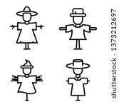 scarecrow icons set. outline... | Shutterstock .eps vector #1373212697