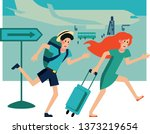 worried man and woman tourists...   Shutterstock .eps vector #1373219654
