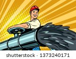 oil flowing out of pipe  male... | Shutterstock . vector #1373240171