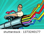 businessman opens the pipe ... | Shutterstock . vector #1373240177