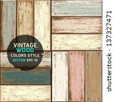 Wooden vintage color seamless texture background. vector illustration. - stock vector