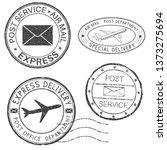 postmarks. black ink round... | Shutterstock . vector #1373275694