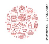 fast food circle illustration... | Shutterstock .eps vector #1373309054