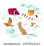 hand holding kite over cloudy... | Shutterstock .eps vector #1373312117